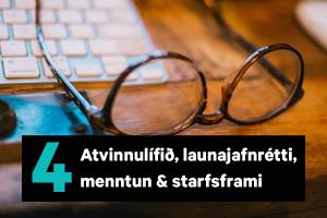 Atvinnulífið, launajafnrétti, menntun & starfsframi